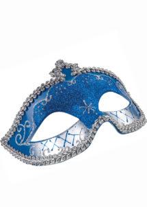 masque vénitien, loup vénitien, masque carnaval de Venise, masque vénitien bleu, Loup Corona, Paillettes Bleues et Argent