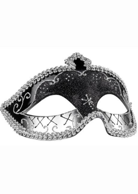 masque vénitien, loup vénitien, masque carnaval de Venise, masque vénitien noir, Loup Corona, Paillettes Noires et Argent