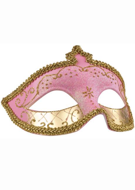 masque vénitien, loup vénitien, masque carnaval de Venise, masque vénitien rose, Loup Corona, Paillettes Roses et Or