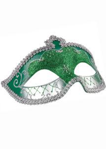 masque vénitien, loup vénitien, masque carnaval de Venise, masque vénitien vert, Loup Corona, Paillettes Vertes et Argent