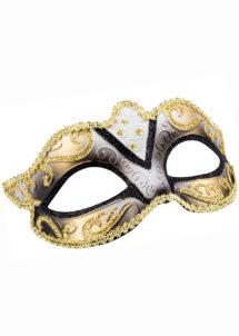 masque vénitien, loup vénitien, masque carnaval de Venise, masque vénitien paillettes noires, Loup Felina, Paillettes Noires et Or