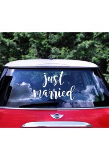 autocollant voiture, décorations mariage, just married, Autocollant Voiture de Mariés, Just Married