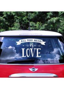 autocollant voiture, décorations mariage, autocollant love, Autocollant Voiture de Mariés, Love