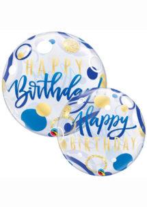 ballon hélium, ballon bubble, ballon transparent, ballon anniversaire, Ballon Anniversaire, Bubble Transparent, Bleu et Or