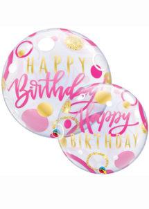 ballon hélium, ballon bubble, ballon transparent, ballon anniversaire, Ballon Anniversaire, Bubble Transparent, Rose et Or