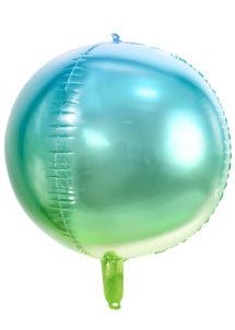ballon boule, ballon hélium, ballon mylar, ballon licorne, Ballon Boule Dégradé Bleu Vert, Globe Aluminium