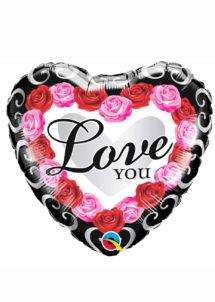 ballon coeur, ballon saint valentin, ballon aluminium, ballon hélium, Ballon Coeur, Love You et Roses, en Aluminium