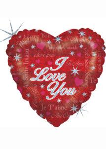 ballon coeur, ballon saint valentin, ballon aluminium, ballon hélium, Ballon Coeur, I Love You Multilangues, en Aluminium