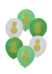 ballons ananas, ballons hélium, ballons baudruche, Ballons Imprimés Ananas, en Latex, x 6