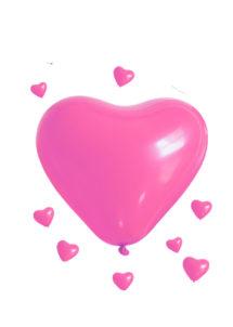 ballon coeur, ballon hélium, ballon baudruche, ballon latex, ballons coeurs roses, Ballon Coeur Rose, en Latex, X 5