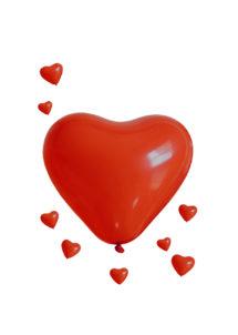 ballon coeur, ballon hélium, ballon baudruche, ballon latex, ballons coeurs rouges, Ballon Coeur Rouge, en Latex, x 5