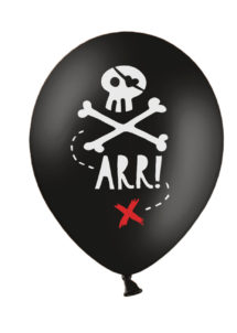 ballons baudruche, ballons pirates, ballons hélium, ballons enfants, Ballons Imprimés Pirates Party, en Latex, x 6