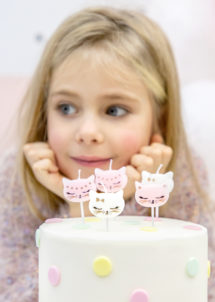 bougies anniversaire chat, bougies chats Kitty, bougies anniversaires enfants, 6 Bougies Chat Kitty, Roses et Blanches