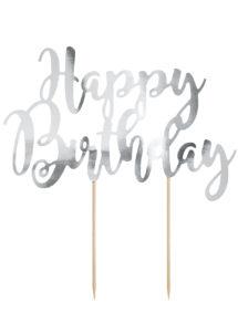 cake topper, décorations gateau, déco pour gâteau, Décoration Gâteaux, Cake Topper Anniversaire, Argent