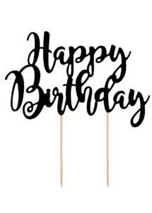 cake topper, décorations gateau, déco pour gâteau, Décoration Gâteaux, Cake Topper Anniversaire, Noir