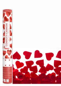 canons confettis, confettis coeurs rouges, canons à confettis coeurs, Canon à Confettis, Coeurs Rouges Métal, 40 cm