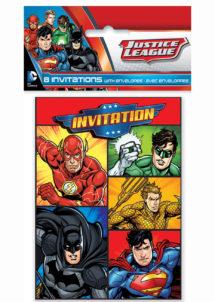 invitations anniversaire, invitations justice league, Cartes d'Invitations Justice League