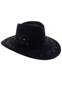 chapeau cow-boy enfant, chapeau cowboy garçon, Chapeau de Cowboy Suédine, Noir, Enfant