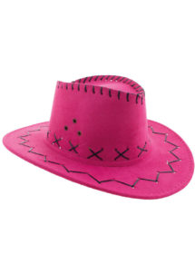 chapeau cow-boy enfant, chapeau cowboy fille, Chapeau de Cowboy Suédine, Rose, Enfant