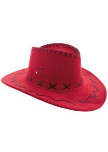 chapeau cow-boy enfant, chapeau cowboy garçon, Chapeau de Cowboy Suédine, Rouge, Enfant