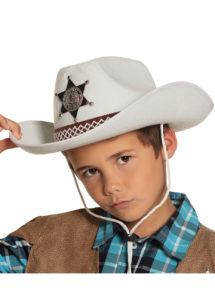 chapeau cow-boy enfant, chapeau cowboy enfant, Chapeau de Cowboy Shérif, Blanc, Enfant