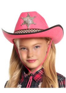 chapeau cow-boy enfant, chapeau cowboy fille, Chapeau de Cowboy Shérif, Rose, Enfant