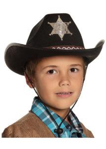 chapeau cow-boy enfant, chapeau cowboy garçon, Chapeau de Cowboy Shérif, Noir, Enfant
