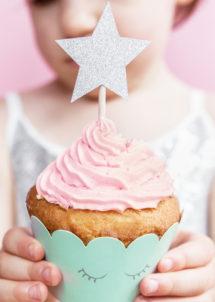 décorations pour gâteaux, cupcake topper, cake topper, Décoration Gâteaux, Pics Apéro, Etoiles Argent