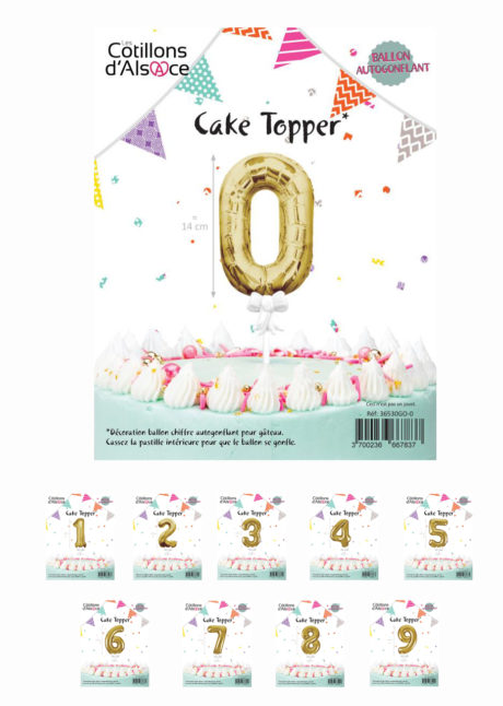 décoration gateau, cake toppers, ballons chiffres, Décoration Gâteau, Cake Topper, Ballons 0 à 9 Dorés