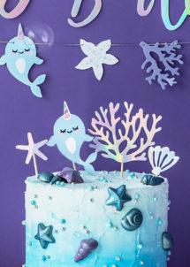 décorations gâteaux, décos gâteaux, cake topper, décorations anniversaire, Décoration Gâteaux, Pics Apéro, Narval Licorne des Mers