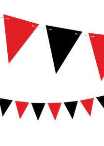 guirlande fanions pirates, décorations pirates, guirlande fanions rouges et noirs, guirlande de fanion, Guirlande Fanions Rouges et Noirs