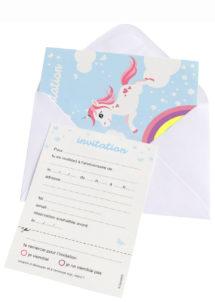 cartes invitations licornes, invitations licornes anniversaire, anniversaire licorne, Cartes d'Invitations Licorne, Nuage et Arc en Ciel