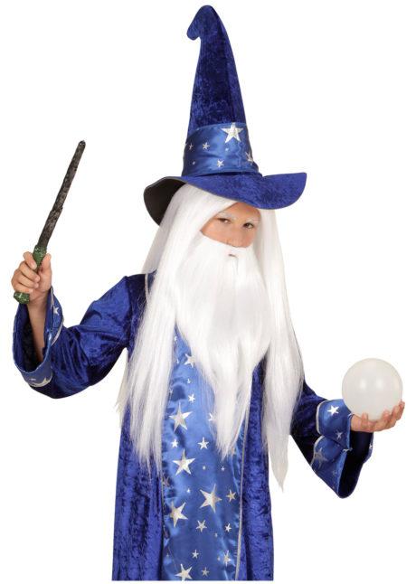perruque de magicien enfant, perruque druide pour enfant, perruque magicien pour garçon, Perruque de Magicien + Barbe, Garçon