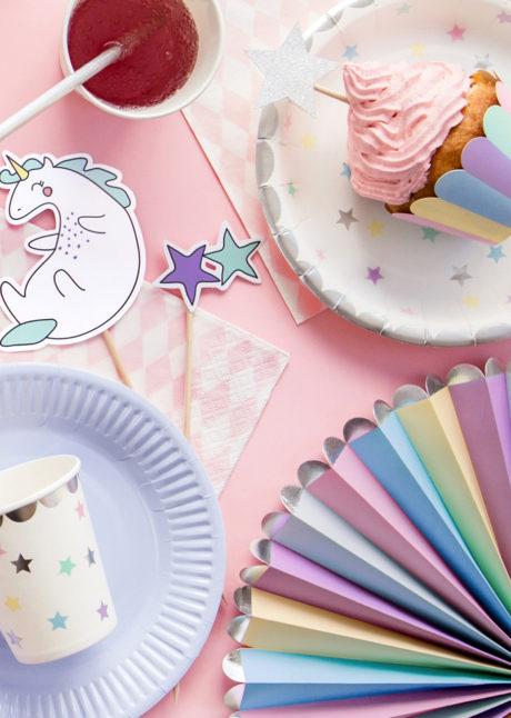 décorations anniversaire, décorations babyshower, vaisselle jetable, 3 Rosaces de Décoration en Papier, Etoiles de Licorne