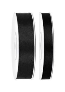 RUBAN-NOIR-SATIN-TS010, Ruban en Satin, 6 mm ou 12 mm, Noir