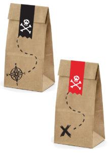 sachets cadeaux enfants, sacs cadeaux goûters d'enfants, sachets cadeaux pirates, Sacs Petits Cadeaux, Pirates Party, x 6