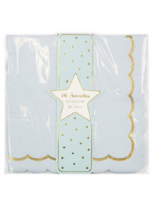 serviettes en papier bleues, serviettes en papier babyshower, vaisselle baby shower, Vaisselle Bleu Pastel, Serviettes Bleues et Or