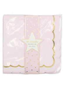 serviettes en papier roses, serviettes en papier babyshower, vaisselle baby shower, Vaisselle Rose Pâle, Serviettes Roses et Or