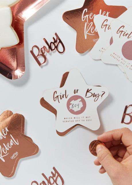 cartes fille ou garçon baby shower, gender reveal, baby shower révélation, ginger ray, 10 Cartes à Gratter, Révélation Fille ou Garçon, Baby Shower