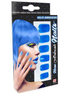 faux ongles bleus, faux ongles bleu fluo, maquillage fluo, faux ongles, Faux Ongles Bleus Néon, autoadhésifs