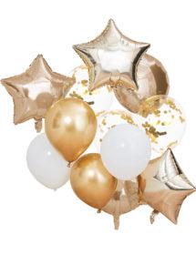 kit ballons hélium, kit ballons dorés, décorations ballons, ballons de décorations, bouquet de ballons, ginger ray, 1 Kit Décor Bouquet de Ballons x 12, Or et Blanc