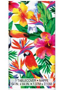 nappe jetable, nappe en plastique, nappe Hawaï, décorations hawaïennes, Nappe Tropiques, en Plastique