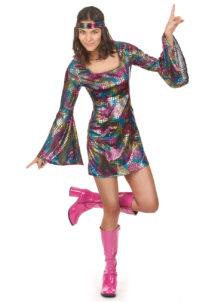 déguisement disco femme, déguisement années 70 femme, tunique disco femme déguisement, déguisement disco femme pas cher, déguisement disco paris, robe disco pour femme déguisement, Déguisement Disco, Robe Multicolore Métal