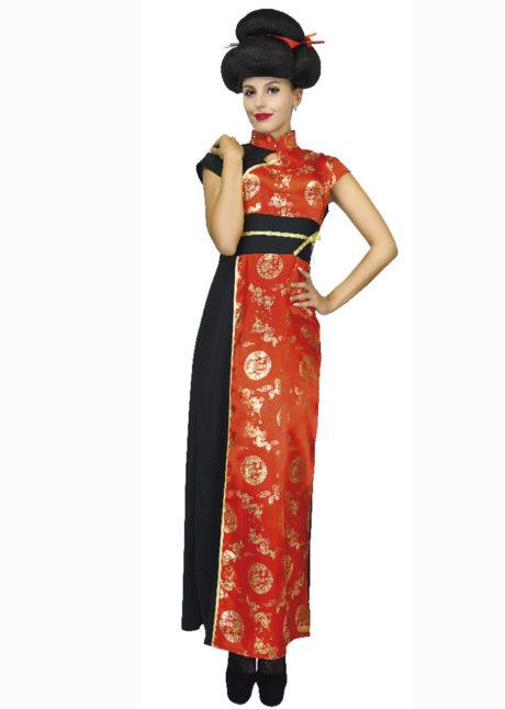déguisement de chinoise, déguisement asie, déguisement asiatique, déguisement de japonaise,, Déguisement de Chinoise, Robe Rouge et Or