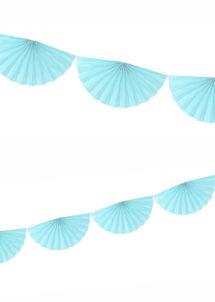 guirlande éventail, guirlande en papier, guirlande rosaces, guirlande bleu ciel, Guirlande Papier, Eventail Bleu Ciel
