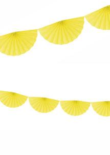 guirlande éventail, guirlande en papier, guirlande rosaces, guirlande jaune, Guirlande Papier, Eventail Jaune