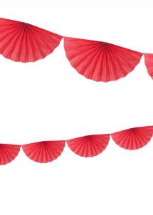 guirlande éventail, guirlande en papier, guirlande rosaces, guirlande rouge, Guirlande Papier, Eventail Rouge