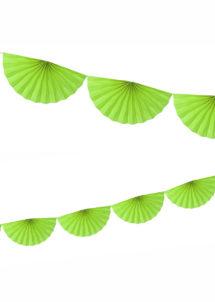 guirlande éventail, guirlande en papier, guirlande rosaces, guirlande verte, Guirlande Papier, Eventail Vert Prairie