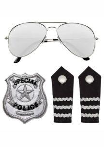 police, accessoires déguisement police, lunettes polices, badge police, Kit de Police, Lunettes, Epaulettes et Broche