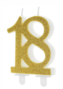 bougie 18 ans, bougies chiffres, bougies d'anniversaire, Bougie d'Anniversaire, 18 ans, Paillettes Dorées